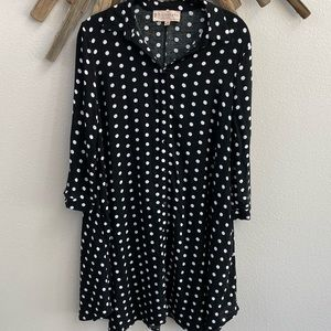 Philosophy black white polkadot shirt dress